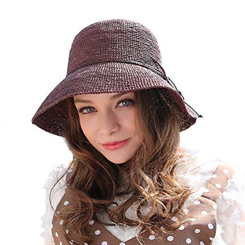 RIONA Women's Summer Hand-Woven Foldable Wide Brim Fisherman 100% Raffia Straw Sun Hat(Coffee) -
