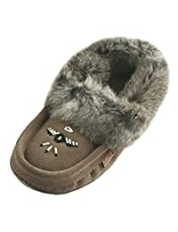 Laurentian Chief Soft Sole Women's Charcoal Suede Slippers with Rabbit Fur Collar Moccasins