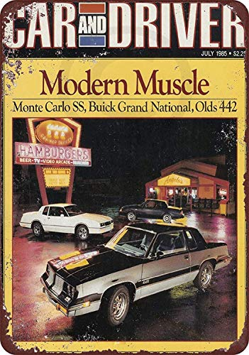 (TiuKiu 1985 Car and Driver Olds 442 Buick Grand Monte Carlo Reproduction Metal Sign 8 x 12)