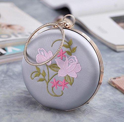 Flower Bag Vintage Bag Embroidery New Evening Clutch Silver Round Bag WenL Dress Yxapgwq4