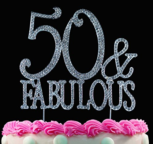 50 and Fabulous 50th Birthday Crystal Cake Toppers Sparkl...