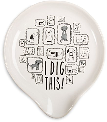 "Pavilion Gift Company It's Cats & Dogs-""I Dig This!"" Ceramic Dog Spoon Rest, Small, White"