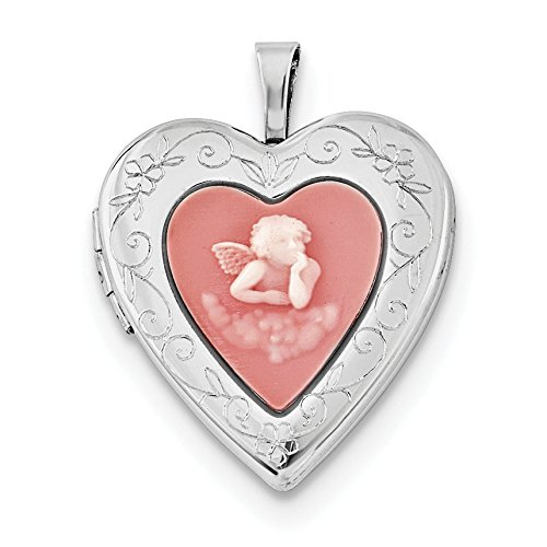 925 Sterling Silver 20mm Pink Agate Angel Cameo Locket Pendant