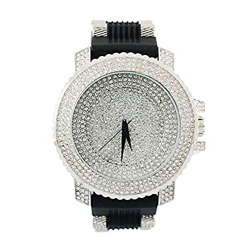 Techno Pave Hip Hop Bling Full Icy Three Row Silver Platinum Watch with Black Bullet - Diamond Platinum Watch