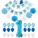 1st Birthday Boy Decorations Kit - Beautiful Boy Colors for Little Man First Birthday Decorations - Number One Balloon - Blue Happy Birthday Banner - Blue, Light Blue and White Pink Pom Poms Balloons