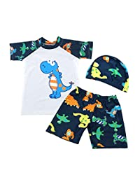 8c94f5ca4b Happy Cherry Boys Swimsuit Set 3-Piece Dinosaur Sun Protection Rash Guard  Set