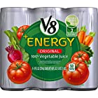 V8 +Energy, 100% Vegetable Juice, 8 Ounce (Pack of 6) (Packaging May Vary)