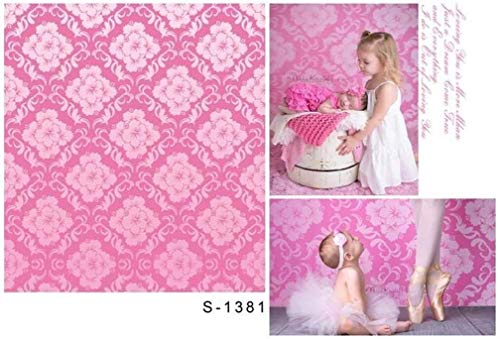 Blue Damask Photo Card - GoHeBe 3x5ft Vinyl Photography Backdrops Sweet Pink Damask Pattern Wall Design Damascus Infant Baby Newborn Birthday Party Chic Floral Photo Background Studio Props 1x1.5meter