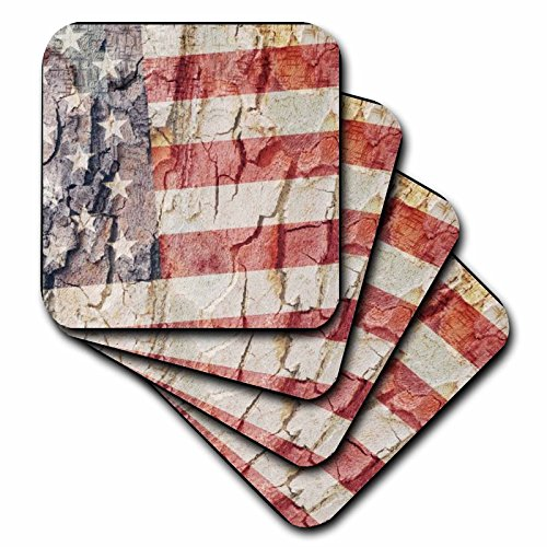 American Ceramic Tile - 3dRose American Flag USA - Ceramic Tile Coasters, Set of 4 (CST_28140_3)