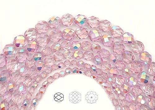(3mm (405 beads) Crystal Pink Shimmer AB coated, Czech Fire Polished Round Faceted Glass Beads, 3x16 inch strand)