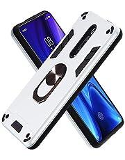 FAWUMAN Funda para Xiaomi Redmi K20/K20 Pro Soft TPU + Duro PC Doble Parachoques Cubierta a Anillo Soporte con Soporte y Carcasa Desmontable, Funda Protectora Serie Armadura (Plata)