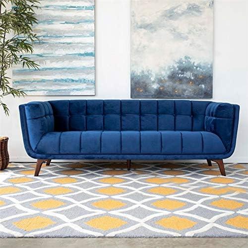 ASHCROFT Mid-Century Modern Allen Blue Velvet Sofa 86″