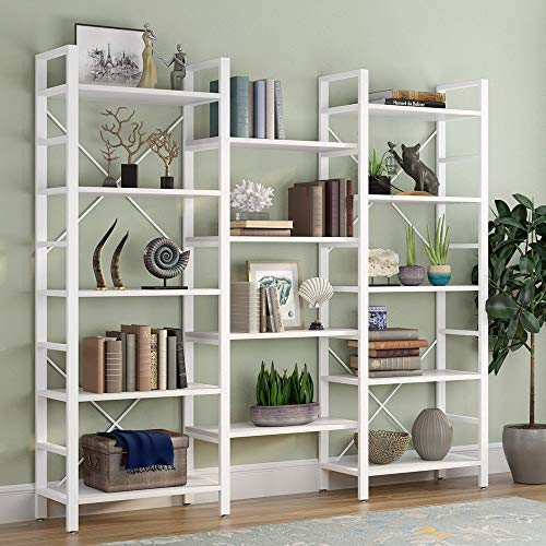 Tribesigns Triple 72 Inches Wide 5-Shelf Bookcase, Etagere Large Open Bookshelf Vintage Industrial Style Shelves Wood and Metal bookcases Furniture for Home & Office, White (Grey Metal Bookcase)