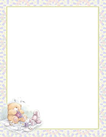 amazon com teddy bear tea party stationery printer paper 26 sheets