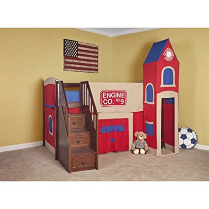 Amazon Com Ne Kids School House Firehouse Loft Bed With Stairs In