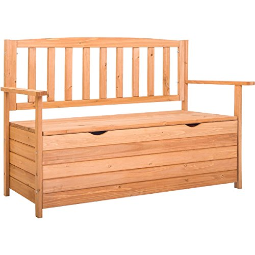 Retrohom Outdoor Patio Storage Garden Bench Deck Box Loveseat Wood Outdoor Bench Outside Sitting Bench Furniture All Weather