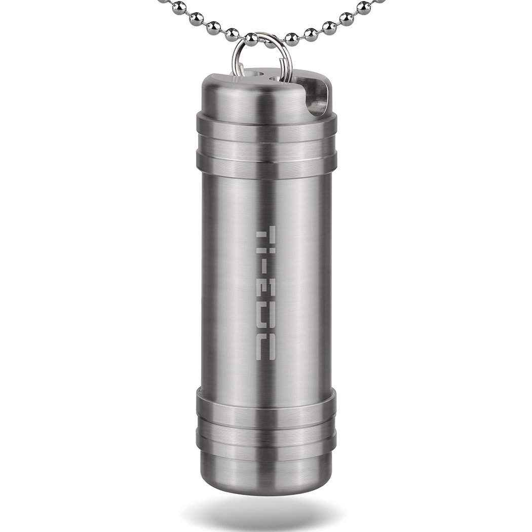 TI-EDC Titanium Large Pill Fob - Nitro Bottle Holder, Keychain Everyday Carry Pill Container
