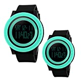 Unique Cool Outdoor Sport Digital Couple Watch Soft Band Led Alarm(Two Pieces One Pack)