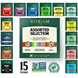 VAHDAM, Tea Variety Pack | 15 FLAVOURS | Award Winning Tea Sampler | Black Tea, Green Tea, Oolong Tea, Chai Tea, Herbal Tea | Long Leaf Pyramid Tea Bags | Best Selling Tea Gift Set & Tea Gift Box