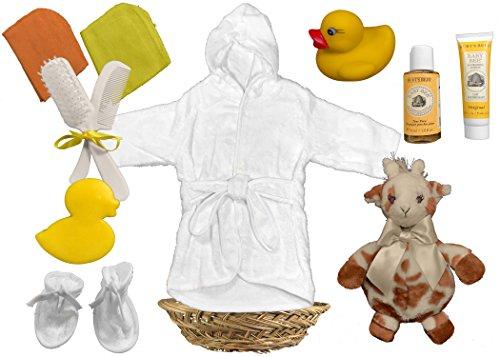 Baby Shower Gift Basket for a Boy or Girl - Giraffe Bathrobe 11 Piece Gift Set