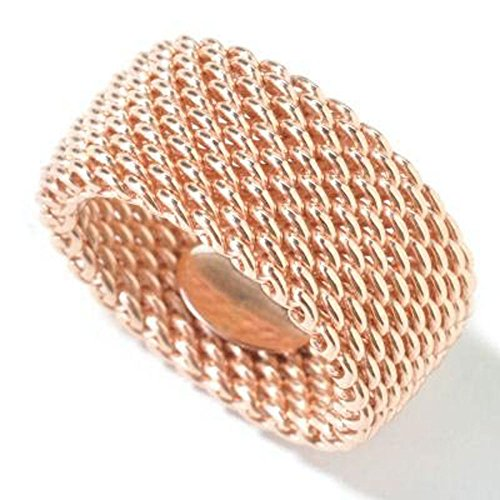 Tiffany Sterling Silver Mesh (10MM ROSE GOLD PLATED .925 Sterling Silver WOVEN Flexible Somerset Mesh Screen Ring 5-10 (.925 Italian Sterling Silver, 5))
