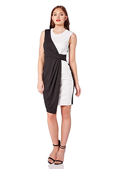 7c59fd8721f2 Roman Originals Womens Monochrome Asymmetric Dress - Ladies Jersey Wrap  Sleeveless Cocktail Party Going Out Stunning Wedding Guests Outfits Dresses  Black: ...