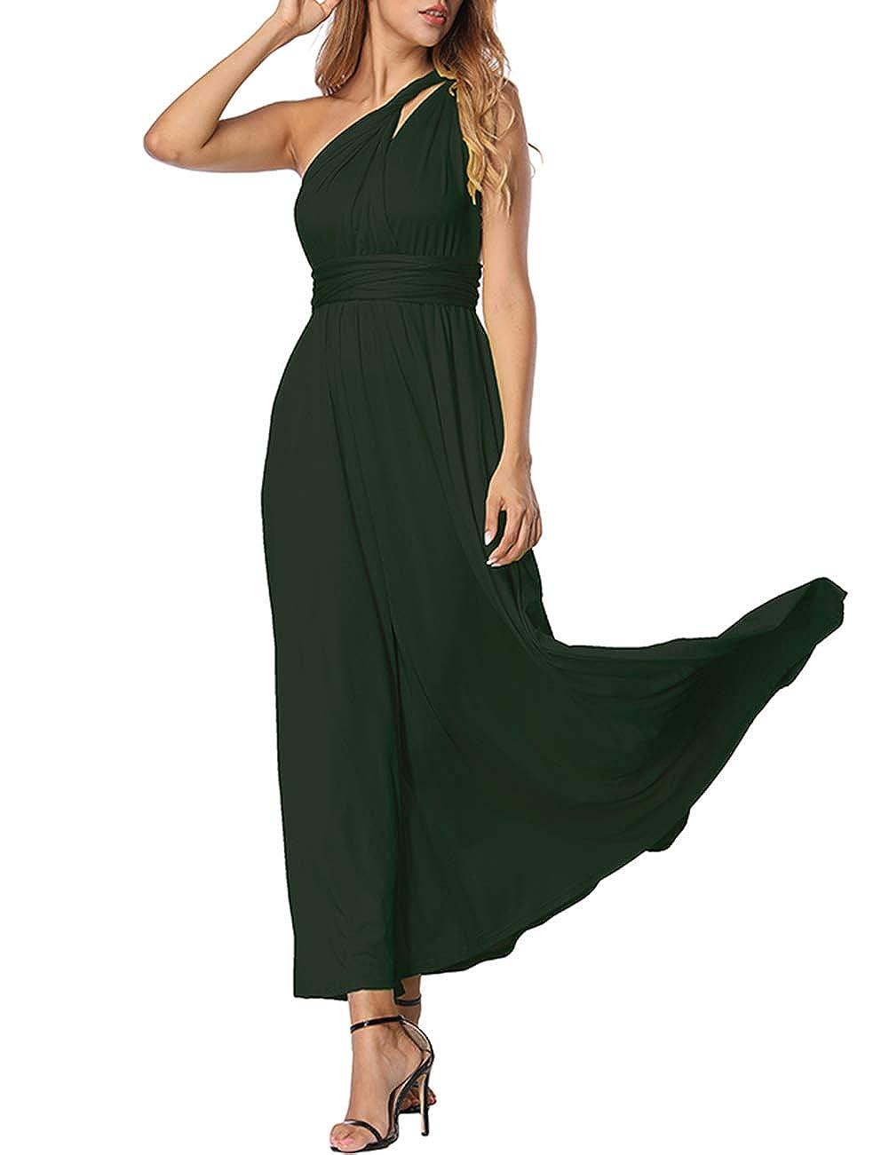 TALLA L(ES 44-46). FeelinGirl Mujer Vestido de Noche Longitud Máxima Falda Fiesta Cóctel Tirantes Convertibles Multi-Manera Verdinegro L(ES 44-46)