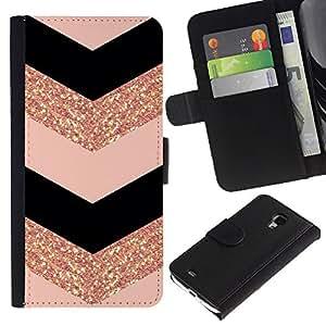 A-type (Chevron Dress Fashion Glitter Gold Pattern) Colorida Impresión Funda Cuero Monedero Caja Bolsa Cubierta Caja Piel Card Slots Para Samsung Galaxy S4 Mini i9190 (NOT S4)