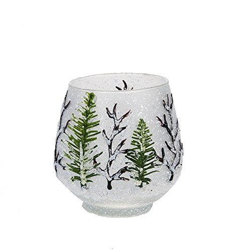 Christmas Tree Votive Holder - Woodland Lodge Votive Holder with Trees Glass Candleholder