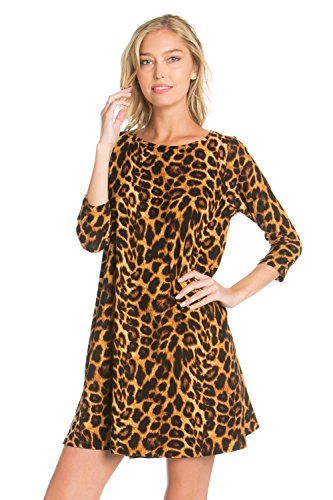 cheetah print dress long sleeve - 1
