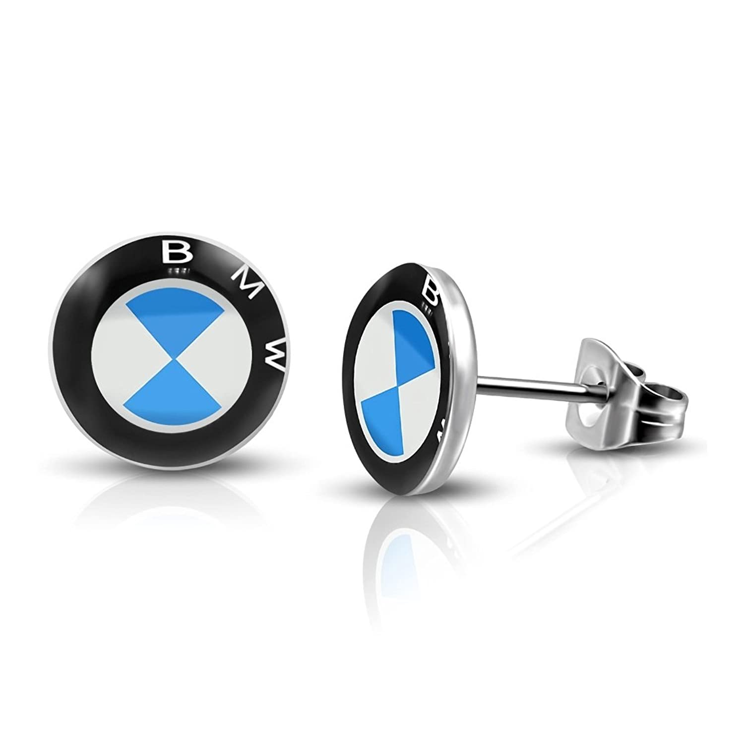 Stainless Steel 4 Color Car Logo Circle Stud Earrings (Pair)