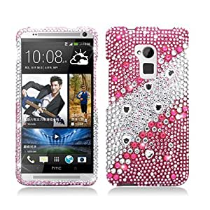 AIMO Dazzling Diamond Bling Case for HTC One max T6 - (Layered Gems - Pink)