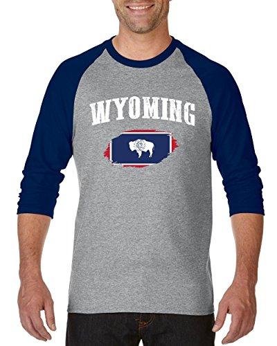 NIB Wyoming State Flag University Of Wyoming Cowboys & Cowgirls American Raglan Sleeve Baseball T-Shirt