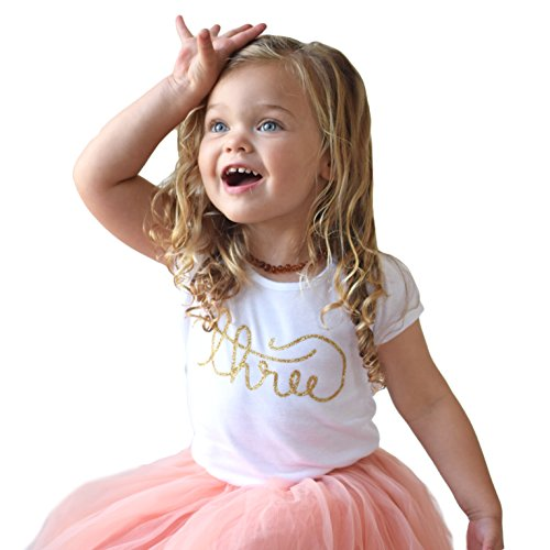 Third Birthday Shirt for Girls Gold Glitter Three Cursive Script,Gold,4T by Olive Loves Apple