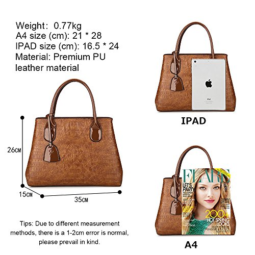 Fashionable Waterproof Handbag Black Hand Red 75 Bag Bag Leather Style Lady Wine Shoulder Brown Pu Jvps Capacity Bag Women New b Large Women qfgwAY