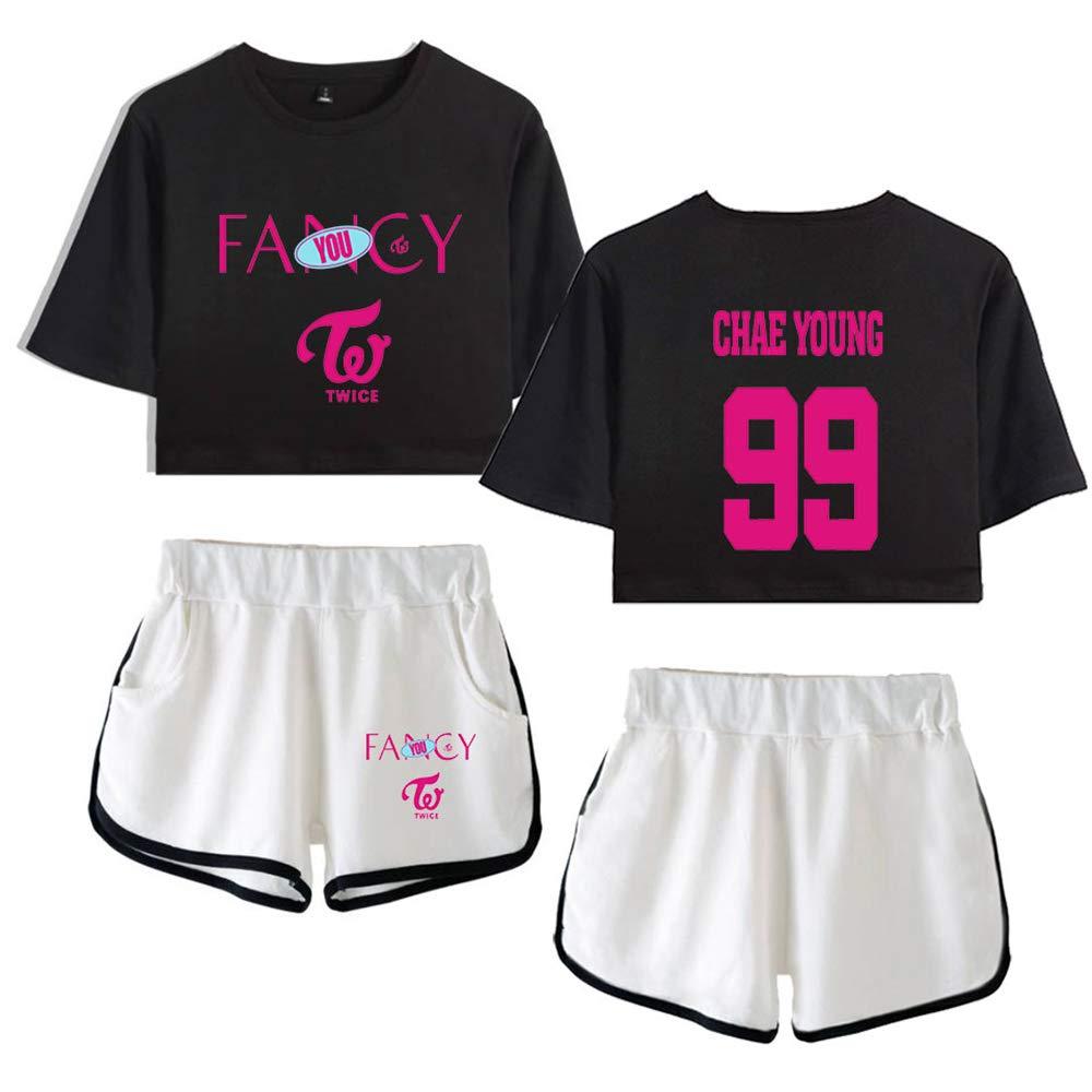 Kpop Twice Ensembles Shorts et Haut V/êtements de Sport Ensembles Sportswear T-Shirt Short Deux Pi/èces Femme Ensemble Sportswear Shorts Tops /à Manches Courtes