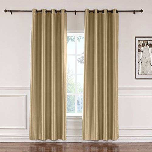 ChadMade Elegant Vintage Polyester Cotton Silk Solid Curtain Taupe 50