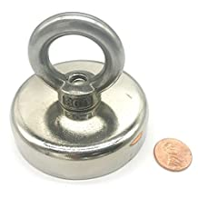 """HHOOMY 350 LBS Pulling Force(158KG) Round Neodymium Magnet with Countersunk Hole and Eyebolt, 2.95"""" Diameter, Great for Salvage or Magnetic fishing"""