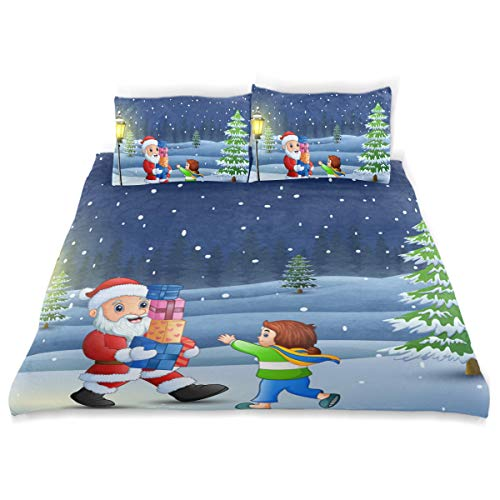Amanda Billy Solar Christmas Lights Bedding 3 Piece Set Bedding Set Full Set 66 × 90 in Bed Cover, 2 Pillowcase Pattern Soft Microfiber Bed Cover Set Children's Gift -