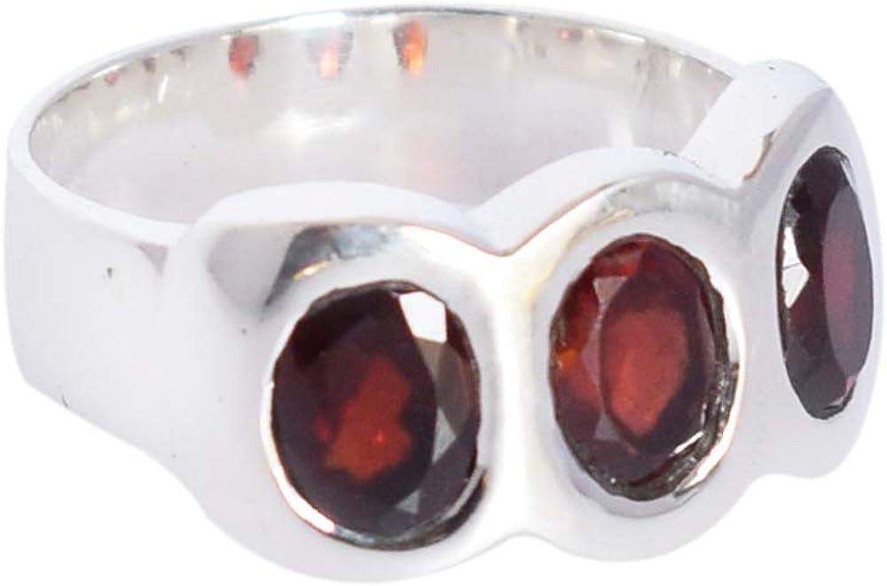 Hermoso anillo de plata de ley 925 maciza con piedra granate roja Sz 7 (US), regalo para ella, joyería para niñas, SG-193B