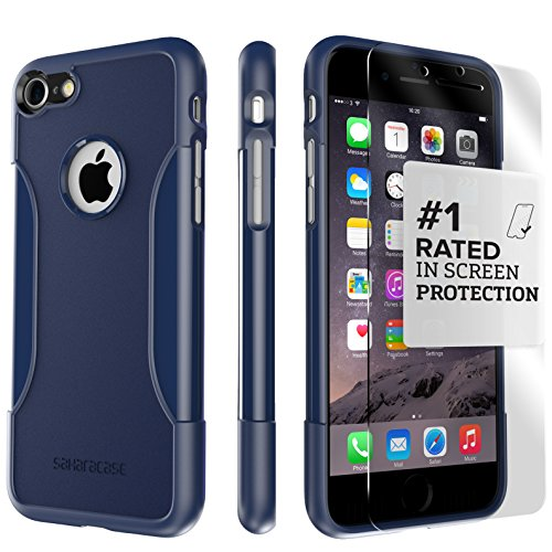 iPhone 8 Case and 7 Case, SaharaCase Protective Kit Bundle with [ZeroDamage Tempered Glass Screen Protector] Rugged Protection Anti-Slip Grip [Shockproof Bumper] Slim Fit - Blue Navy