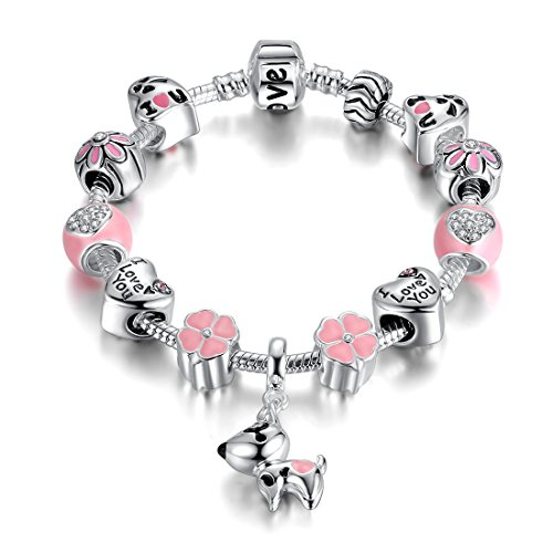 Presentski Lucky Dog Charm Bracelet Silver Plated with Pink Beads Birthday Gift for Daughter