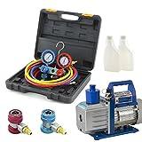 ARKSEN 1/2HP Vacuum Pump R134a HVAC Manifold Gauge Carrying Bag Tote HVAC Refrigerant Combo Set