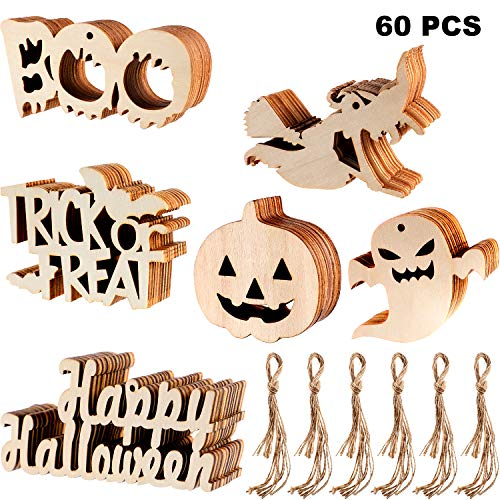 Happy Halloween Tags Printables (Sumind 60 Pieces Halloween Wooden Slices Wooden Gift Tags Blank Wood Hanging Ornaments Cutouts Crafts with 60 Pieces Twine Ropes for Kids Crafts Halloween Christmas Ornaments (Style)