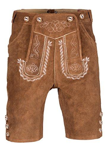 Herren Trachten Lederhose Kurz mit Trägern in verschiedenen Farben, Trachtenlederhose in Größe 46 bis 60 (46 (BW 79-86 cm), rehbraun)