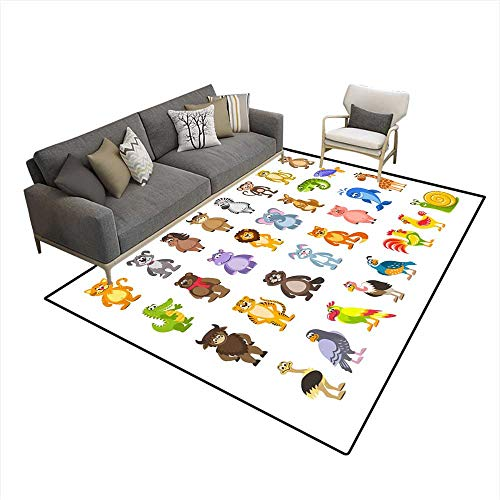 Kids Carpet Playmat Rug Big Set of Animals anbirds Lion Kangaroo Iguana Fish Hare Pig Giraffe Ostrich Snail ()