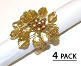 Cotton Craft - Petals Napkin Ring Gold - Set of 4 - 2 Inch Round - Hand made by skilled artisans - A beautiful complement to your dinner table décor