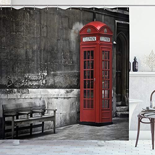 Ambesonne London Shower Curtain, Famous British Phone...