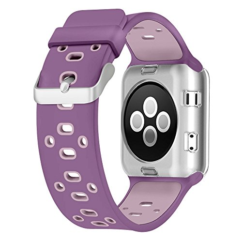 For Apple Watch Bands 42mm, Soft Silicone Sport Strap with Ventilation Holes Breathable Replacement Bands for Apple Watch Nike+, Series 3,Series 2, Series 1, Sport, Edition, Violet Dust/Plum Fog