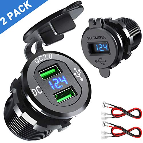 (【2 Pack】 Quick Charge 3.0 Car Charger, CHGeek 12V/24V 36W Aluminum Waterproof Dual QC3.0 USB Fast Charger Socket Power Outlet with LED Digital Voltmeter for Marine, Boat, Motorcycle, Truck and More)